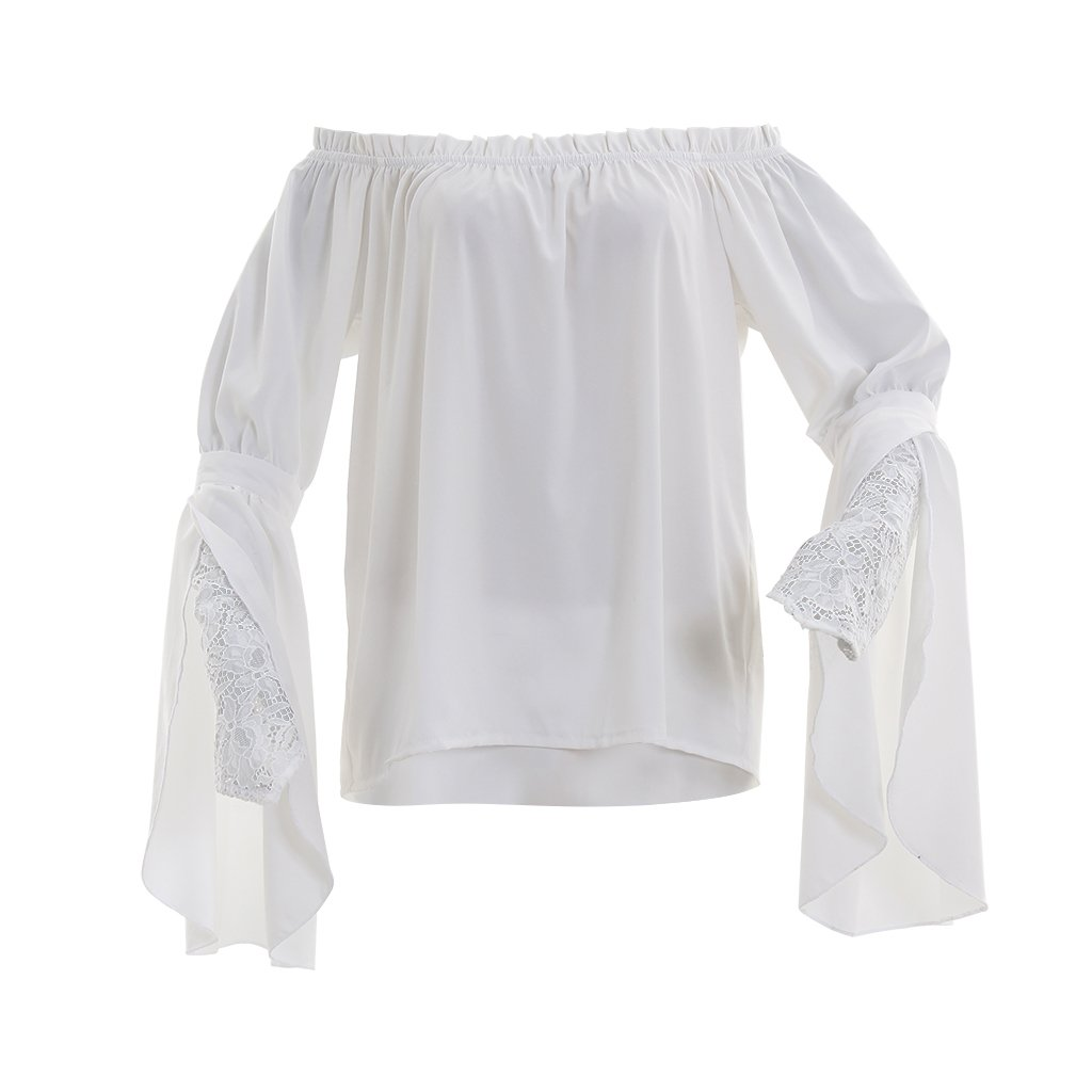 Medieval Women's White Fitted Lace Slashed Sleeve Chemise - DeluxeAdultCostumes.com