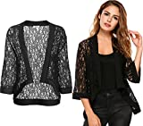 Loveje Women Lace Kimono Cardigan 3/4 Sleeve Lace-up Front Cardigan