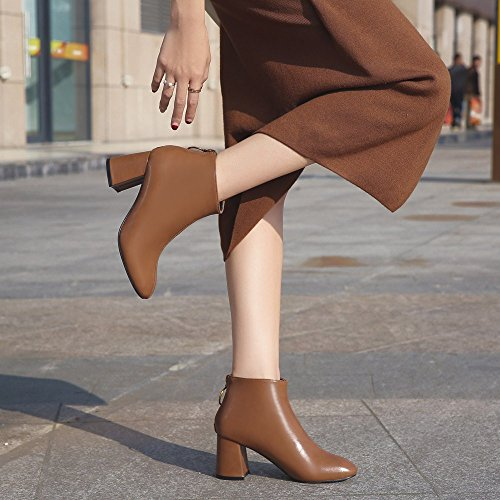 Square PENGYGY Head Thick Boots High Zipper Heels Women British Brown Shoes Casual Fashion q1qptwAC