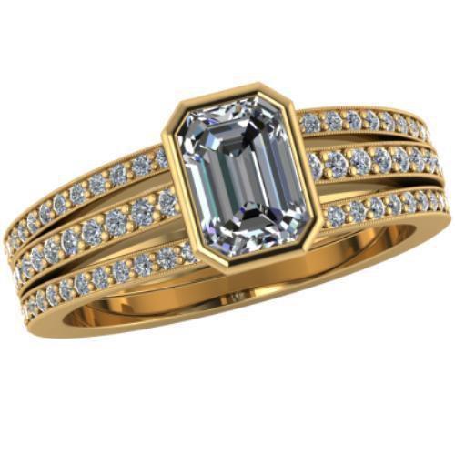 2.50ct White Emerald Shape Simulated Diamond 10k YG Wedding-Engagement Ring+Gift ()
