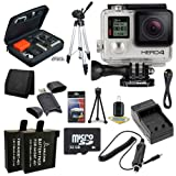 GoPro HERO4 Silver + AHDBT-401 Replacement Lithium Ion Battery + External Rapid Charger + 32GB microSD Class 10 Memory Card + Micro HDMI Cable + Custom GoPro Case for GoPro HERO4 and GoPro Accessories + Full Size Tripod + SDHC Card USB Reader + Memory Card Wallet + Deluxe Starter Kit DavisMAX Bundle 8