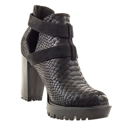 Sopily - Chaussure Mode Bottine chelsea boots ouverte Cheville femmes peau de serpent boucle brillant Talon haut bloc 10 CM - Intérieur synthétique - Noir