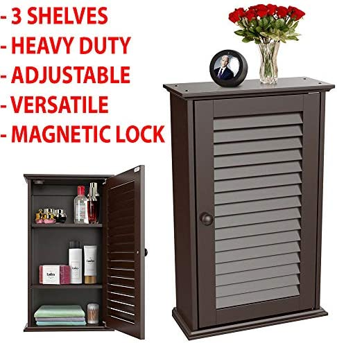 3 Shelves Modern Contemporary Bathroom Floor Storage Organizer Cabinet Over Toilet Kitchen Wall Mounted Medicine Louvered Door