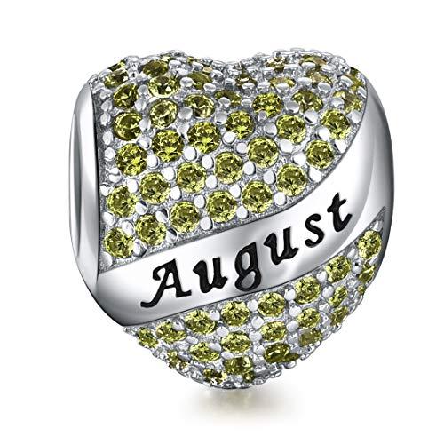 DALARAN Women Sterling Silver 925 Charms Heart Birthstone Charm for Charms Bracelet European Beads August