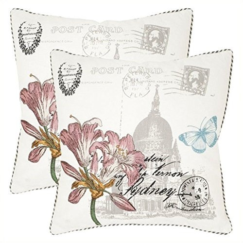 Safavieh Pillow Collection Throw Pillows, 22 by 22-Inch, Gloria White, Set of 2