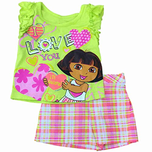 Dora the Explorer Infant Toddler Girls Love You Tee & Plaid Shorts Outfit 18M Green