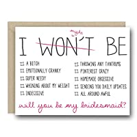 Funny Bridal Party Greeting Card - I Won't (Might) Be Checklist. Will You Be My Bridesmaid?