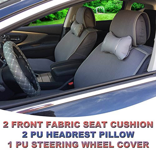 5A80502 Grey - Fabric 2 Front Car Seat Cover Cushions + 2 PU Headrest Pillow + 1 PU Steering Wheel Cover, Non-slip, Compatible to FORD FIESTA (SE) FOCUS (ST) FUSION MUSTANG 2018 2017 2016-2007