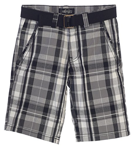 Gioberti Boys Plaid Shorts with Front Button & Zipper, Gray/Charcoal, Size -
