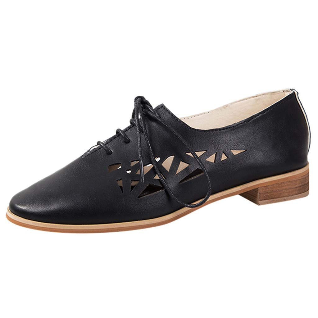 HENWERD Women's Breathable Flats Casual Pointed Toe Lace-Up Square Toe Single Shoes (Black,7 US) by Henwerd flats-shoes (Image #1)