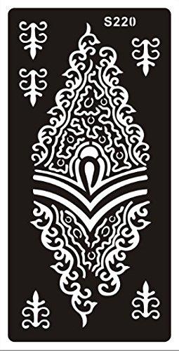 Alheña Plantilla Henna Designs para un solo uso S220para brazo schulder Pierna pie Cuerpo, adecuado también para Glitter Tattoo y aerógrafo Tattoo Beyond S292