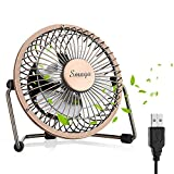 Mini USB Personal Desk Fan - 4'' & Metal & Retro & Quiet & Portable & Free Angle Rotation & ON/OFF Switch & Best for Home, Household, Table, Office, School, Outdoor Travel - Bronze (Bronze)