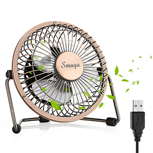 Personal Metal - Mini USB Personal Desk Fan - 4'' & Metal & Retro & Quiet & Portable & Free Angle Rotation & ON/OFF Switch & Best for Home, Household, Table, Office, School, Outdoor Travel (Bronze)