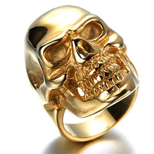 Skeleton Costume Skull Ruler (Stainless Steel Ring for Men, Skull Ring Gothic Gold 2030MM Size 13 Epinki)