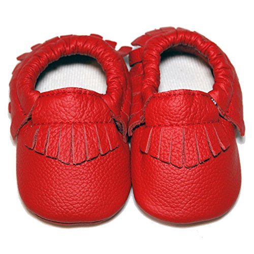 Baby Conda Handmade Red Baby Moccasins Leather Soft Sole Slip on Baby Shoes for Boys and Girls 100% Size 0 – 6 Months