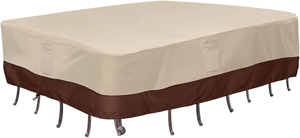 Amazon Com Vailge Waterproof Patio Furniture Set Cover Lawn Patio Furniture Cover With Padded Handles Patio Outdoor Table Cover Patio Outdoor Dining Rectangular Table Chairs Cover Medium Beige Brown Garden Outdoor