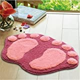 Super Soft Nonslip Microfiber Lovely Flocking Big Feet Pad Floor Mat Bedroom Area Rug Carpet 58.5*38.5cm, 5 Colors Available (Pink)