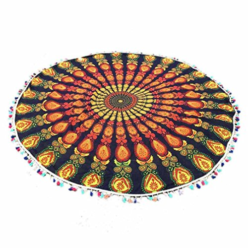 Voberry Indian Mandala Round Tassel Beach Throw Tapestry Hippy Boho Gypsy Cotton Tablecloth Beach Towel Round Yoga Mat (Gold)
