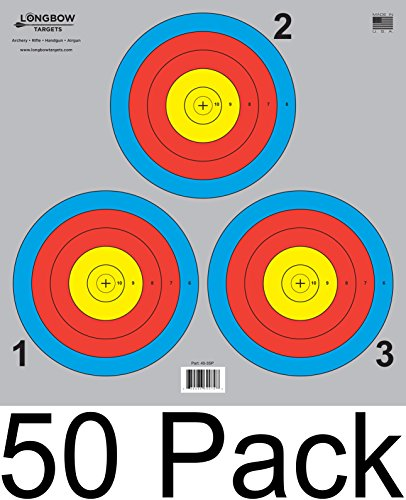 Archery 5 SPOT & 3 SPOT Vegas Targets by Longbow 8, 20, 50 & 200 Packs (3 Spot (50 Pack))