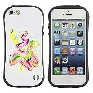 "Hypernova Slim Fit Dual Barniz Protector Caso Case Funda Para Apple iPhone SE / iPhone 5 / iPhone 5S [Acuarela Pintura Aceite Rosa Amarillo Finger Paint""]"