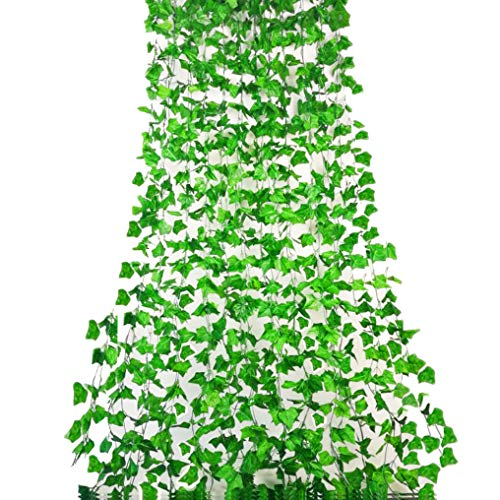 (Rurality 96 Ft - 12 Fake Ivy Plant Artificial Ivy Vines Leaves for Wall,Wedding,Patio or Yard Decoration (Green 1))