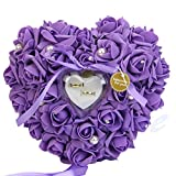 Somnr®  1PCS Wedding Favors Ring Pillow With Transprent Ring Box Heart Design Very Special Unique Ring Pillow Decorations Favor Purple