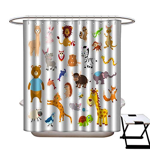 warmfamily Floral Shower Curtain Sticker Zoo Animals Isolated on The White Background with Cutting line Vector Illustration Page Shower CurtainW69 x L70