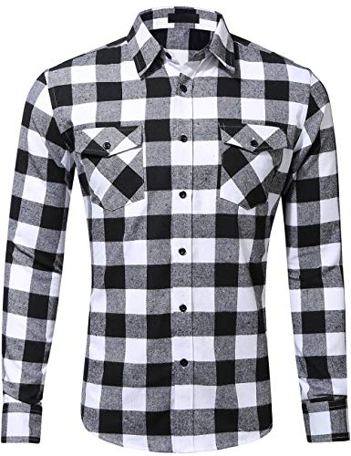 DOKKIA Men's Dress Button Down Buffalo Plaid Checked Long Sleeve Flannel Shirts (White Black Buffalo, Small) ()