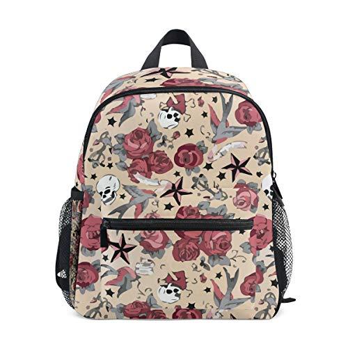 Girly Tattoo Rose Skull Halloween Kid Backpack 12 inch Toddler Bookbag Travel School -