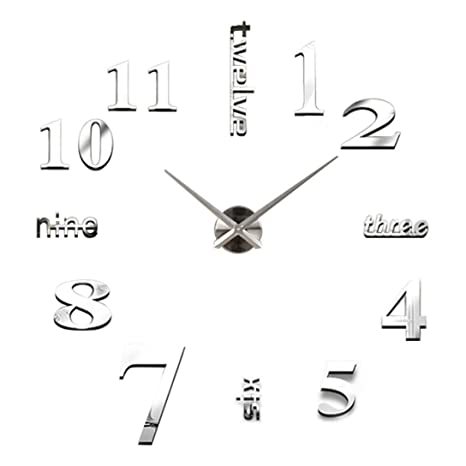 relojes de pared modernos Sannysis DIY reloj de pared adhesivo digitales con números romanos pegatina de