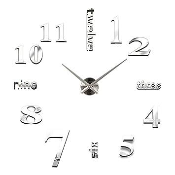 relojes de pared modernos Sannysis DIY reloj de pared adhesivo digitales con números romanos pegatina de pared de espejo 3D para hogar y oficina (Plata): ...