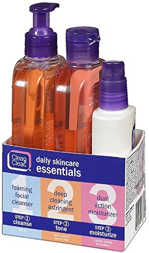 Clean & Clear Daily Acne Skincare Essentials Set with Foaming Facial Cleanser, Deep Cleaning Astringent & Dual Action Moisturizer, Oil-Free, 3 items (Best Skin Care Regimen For Acne Prone Skin)