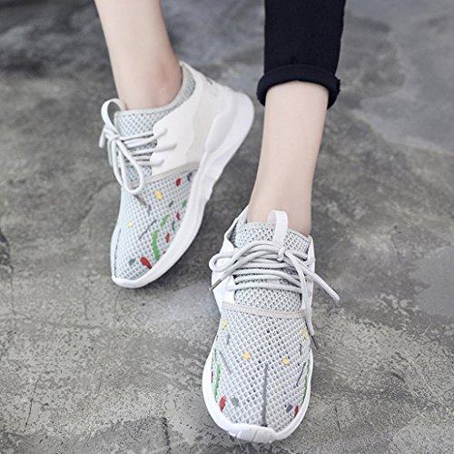 Calzado Sra zapatillas deportivo ocasionales Gris 2017 cordones malla Tefamore transpirable plana con La wq4OrUnw
