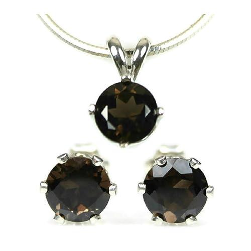Amazon Com Smoky Quartz Jewelry Set Earrings And Necklace 925