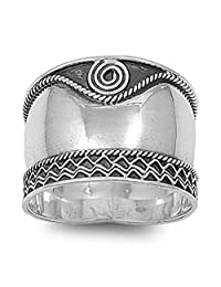 Sterling Silver Women's Bali Rope Swirl Ring Wide 925 Oxidized Band Sizes 6-12