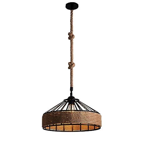 Las lámparas industriales del vintage desvían el zócalo E27 del tenedor de las luces de techo de la cuerda del cáñamo (Size : S-30cm)