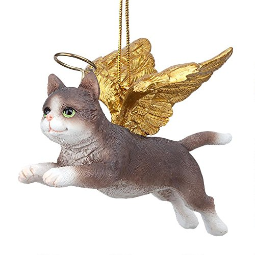 (Christmas Tree Ornaments - Honor The Feline Grey Tabby Holiday Angel Cat Ornaments)