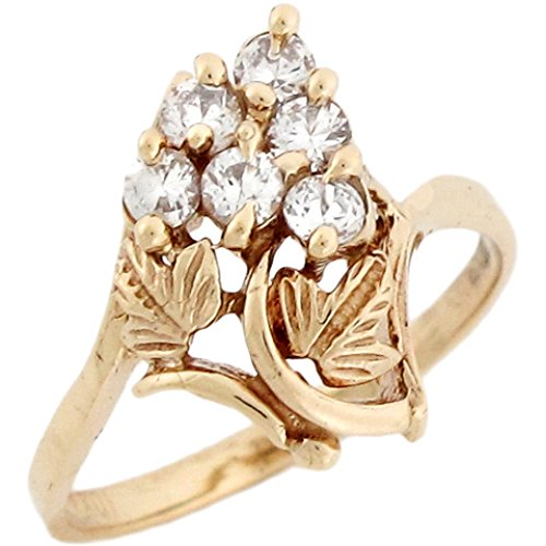 14k Yellow Real Gold White CZ Cute Grape Leaves Womens Ring