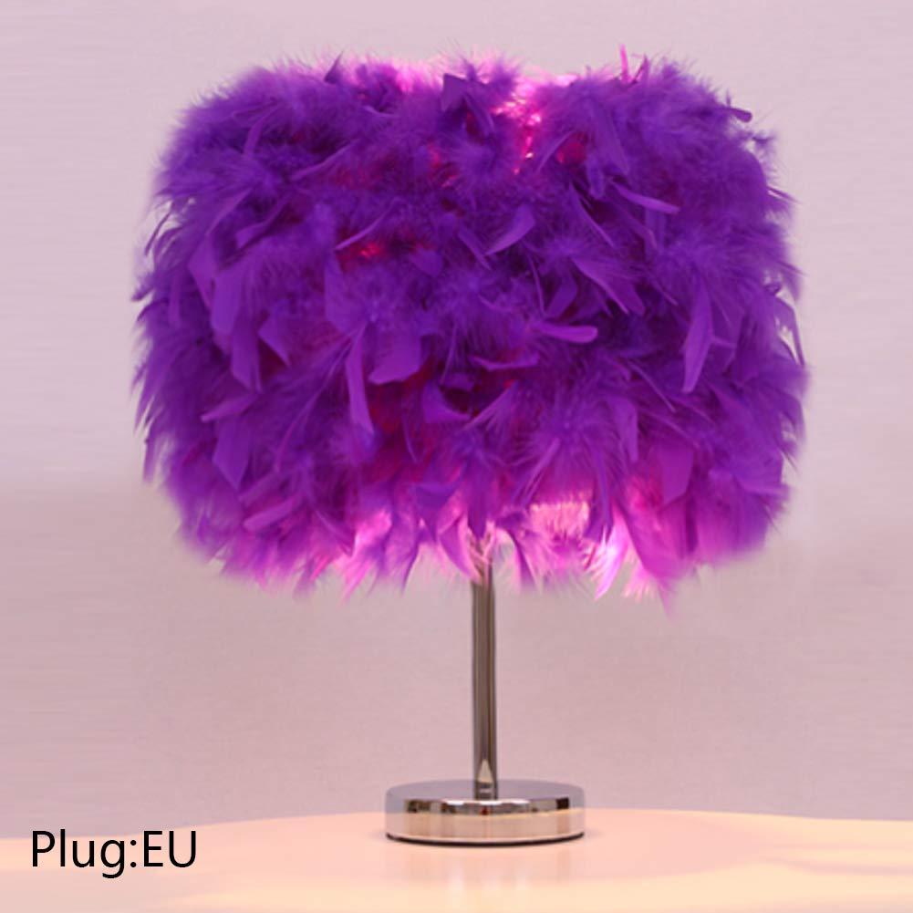Night Light Plug-In Home Lamp Unique Feathers Vintage Lamp Decorations Light Home Decor Durable(#12Deep Purple EU plug)