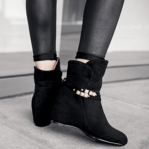 LongFengMa Women's Wedges Heel Ankle High Boots Shoes Black IG6RRZvoLN