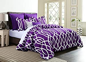 Empire Home Anbu Modern 7 Piece Comforter Set - NEW ARRIVAL (Queen Size, Purple)