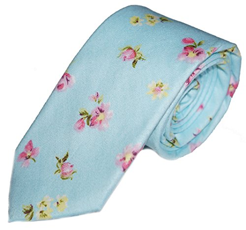 Flairs New York Floral Collection Neck Tie (Baby Blue / Floral (Baby Blue Necktie)