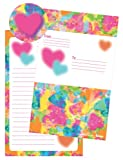 iscream 'Tie-Dye Hearts' Pack of 8 Fold-over Cards with Flip Sticker Seals