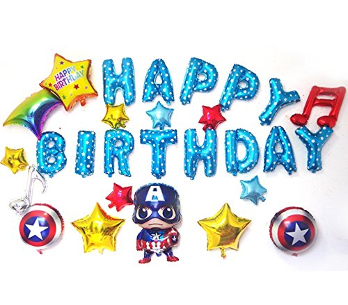 Mesasa Avengers Captain America Theme Birthday Party Ballon