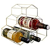PENGKE 6 Bottles Metal Wine Rack,Countertop Freestanding Wine Bottle Storage Holder,Space Saver for Red White Wines,Gold