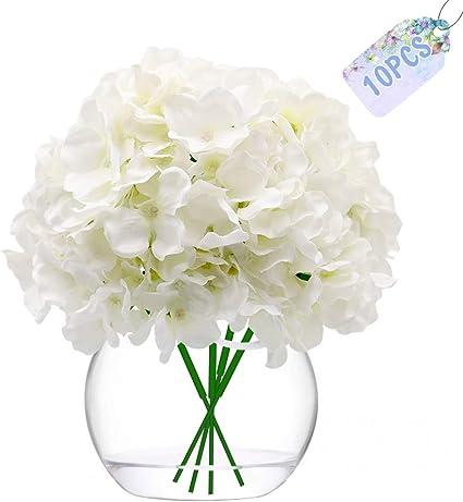 VINFUTUR 10 Pz Fiori Artificiali Ortensia Artificiali Ortensia Finte con Gambo per Bouquet da Sposa DIY Matrimoni Decorazioni di Festa Casa Centrotavola
