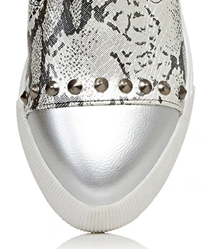 Aisun Donna Casual Alla Moda Borchiato Punta A Punta Antiscivolo Su Sneakers Moda Piattaforma Low Top Mocassini Scarpe Da Skateboard Scarpe Argento