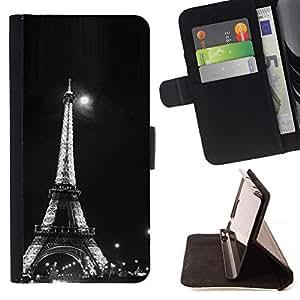 Momo Phone Case / Flip Funda de Cuero Case Cover - Arquitectura Moonlight Blanco y Negro Eiffel - Sony Xperia Z3 D6603