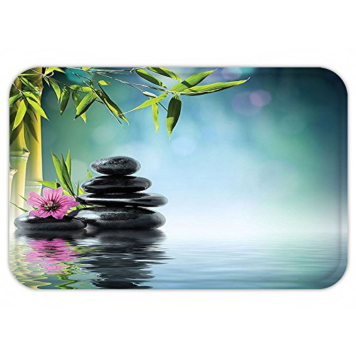 Kisscase Custom Door MatSpa Decor Tower Stone And HibiscuWith Bamboo On The Water Blurred Background Decor