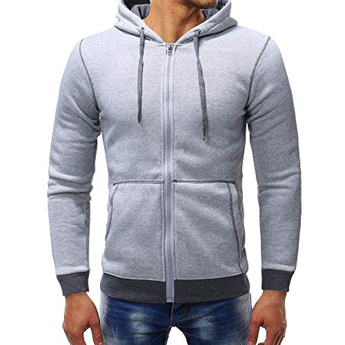 PASATO Men's Autumn Winter New! Casual Zipper Long Sleeve Fleece Hoodie Top Blouse Coat Clothes Pure Color Polo(Gray, L) by PASATO
